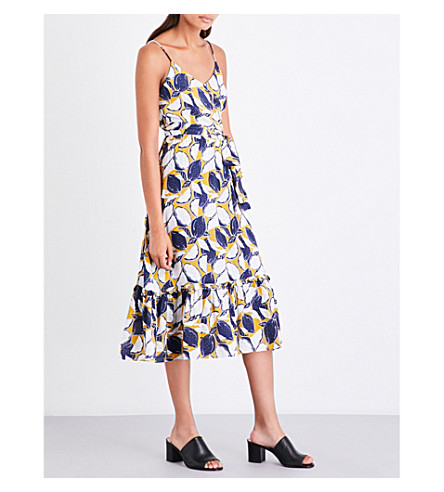 WHISTLES Lemon-print twill dress (Black
