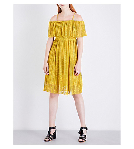 WHISTLES Off-the-shoulder lace dress (Yellow