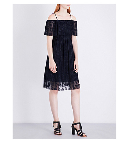 WHISTLES Off-the-shoulder lace dress (Navy