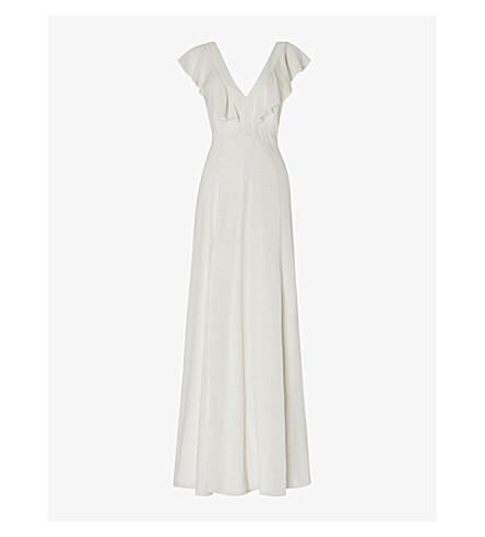 WHISTLES Eve ruffled silk wedding dress (White