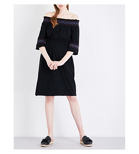 WHISTLES Embroidered off-the-shoulder cotton-jersey dress (Black