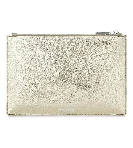 WHISTLES Metallic small leather clutch (Gold