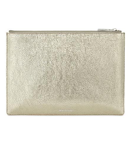 WHISTLES Metallic medium leather clutch (Gold
