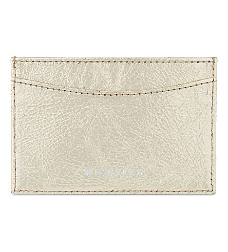WHISTLES Metallic leather card holder (Gold