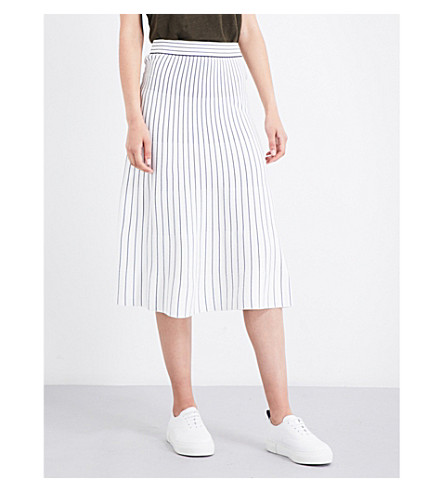 WHISTLES Striped knitted midi skirt (Cream
