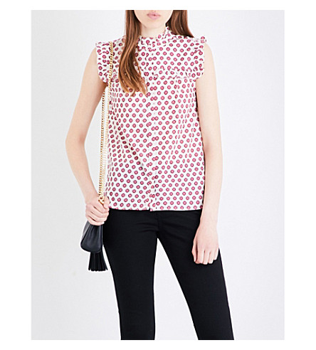 WHISTLES Nisha printed satin blouse (Multi-coloured