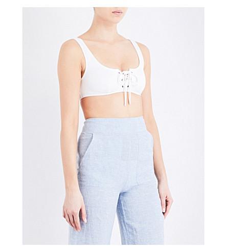 WHISTLES Ohio lace-front bikini top (White