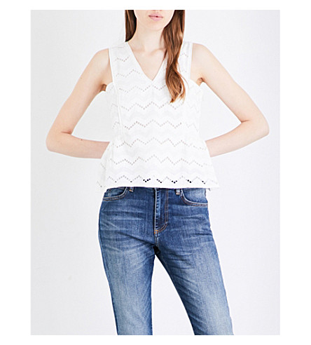 WHISTLES Caterina lace top (Cream