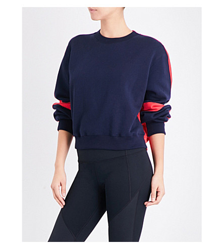 WHISTLES Pannelled cotton-jersey sweatshirt (Navy