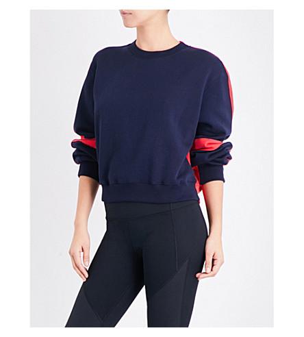 WHISTLES Pannelled cotton-jersey sweatshirt (Navy