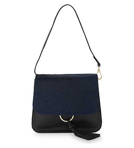 WHISTLES Rosemead leather and pony-hair shoulder bag (Navy