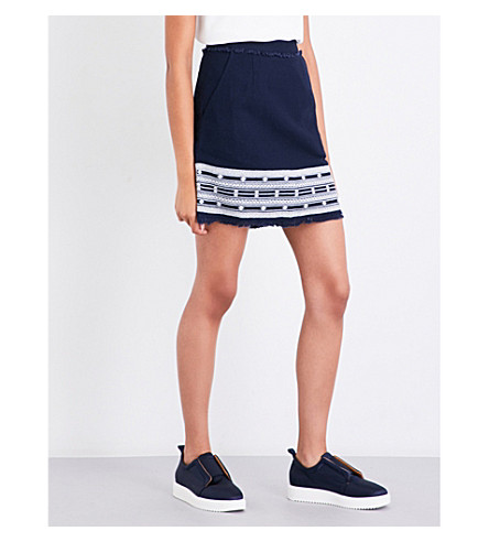 WHISTLES Selina embroidered denim skirt (Navy