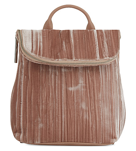 WHISTLES Mini Verity velvet backpack (Pale+pink