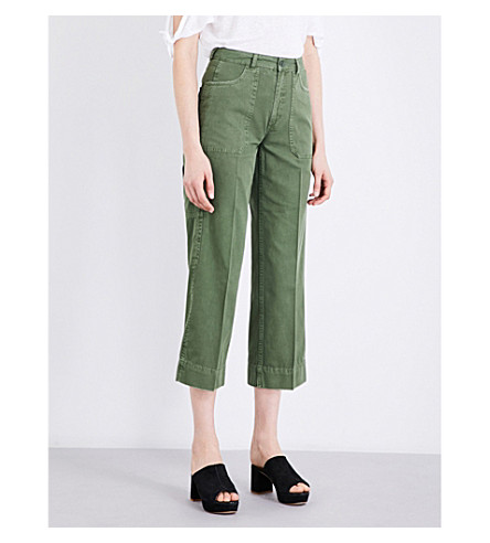 WHISTLES Cargo cotton trousers (Khaki/olive