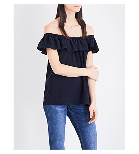 WHISTLES Flume frilled off-the-shoulder crepe top (Navy