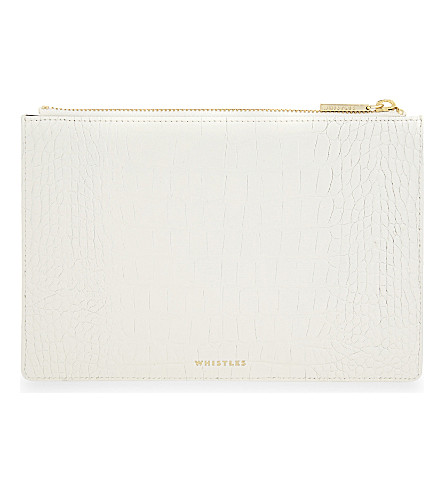 WHISTLES Small crocodile-embossed leather pouch (Cream