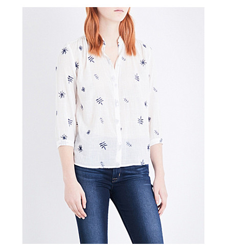 WHISTLES Leaf-embroidered cotton shirt (Cream