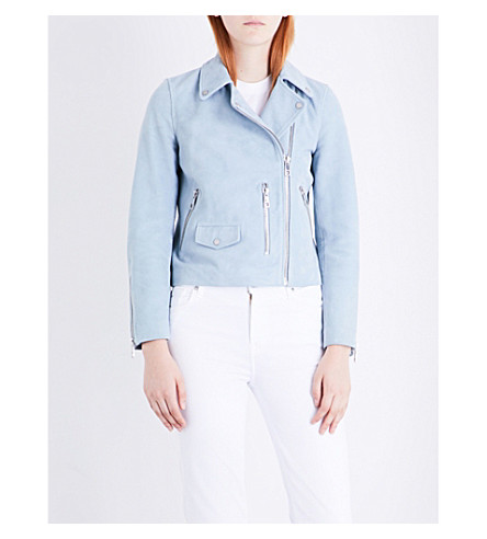 WHISTLES Agnes suede biker jacket (Pale+blue