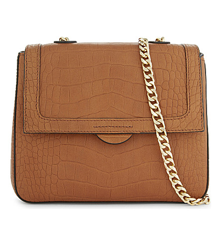WHISTLES Astrid crocodile-embossed leather cross-body bag (Tan