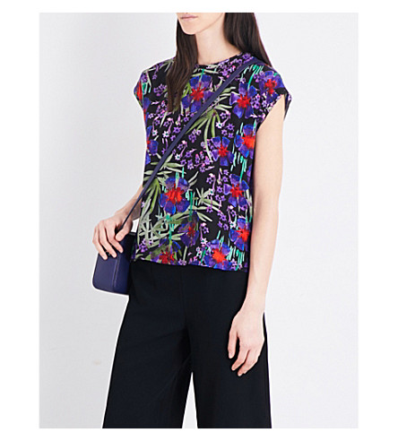 WHISTLES Floris floral silk-chiffon top (Multi-coloured