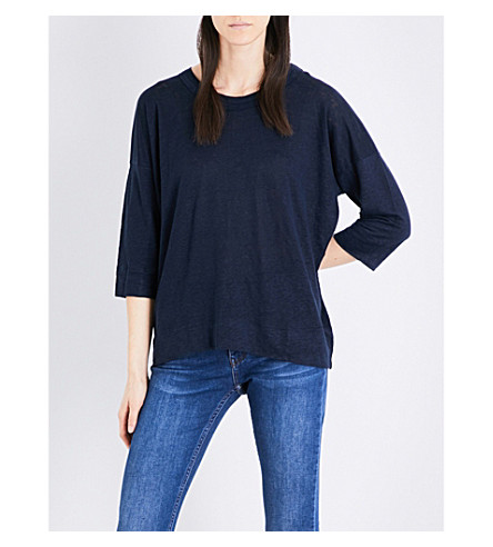 WHISTLES Laura linen top (Navy