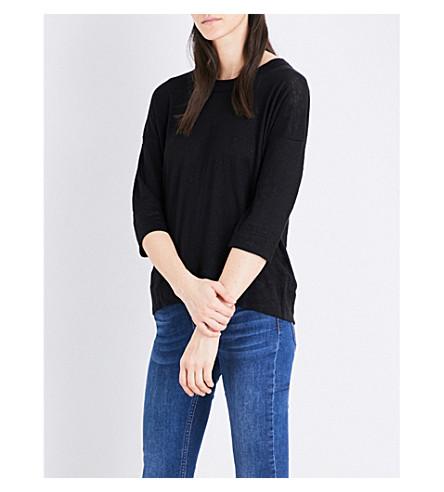 WHISTLES Laura linen top (Black