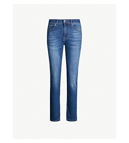 WHISTLES Skinny mid-rise stretch-denim jeans (Blue