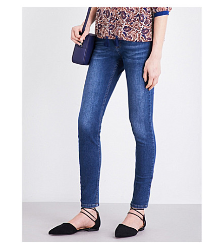 WHISTLES Skinny mid-rise stretch-denim jeans (Blue