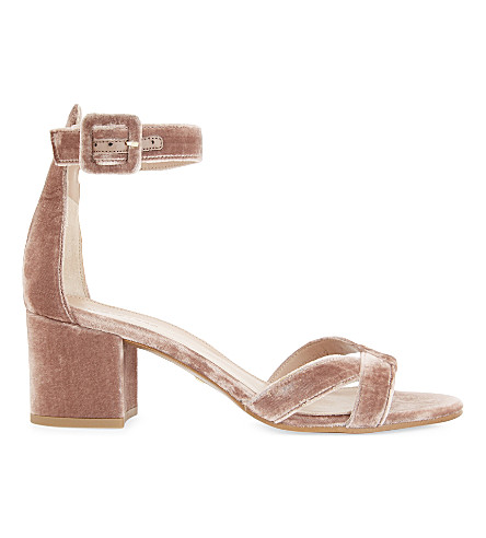 WHISTLES Marquis velvet heeled sandals (Nude