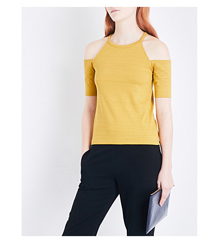 WHISTLES Cold-shoulder cotton-blend top (Yellow