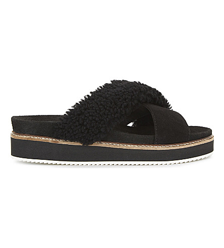 WHISTLES Alie shearling stacked sole sandals (Black
