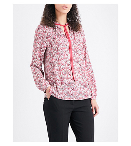 WHISTLES Alisha tie-neck crepe shirt (Multi-coloured