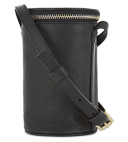 WHISTLES Ellis cylinder grained leather cross-body bag (Black
