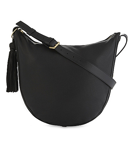 WHISTLES Tassel leather hobo bag (Black
