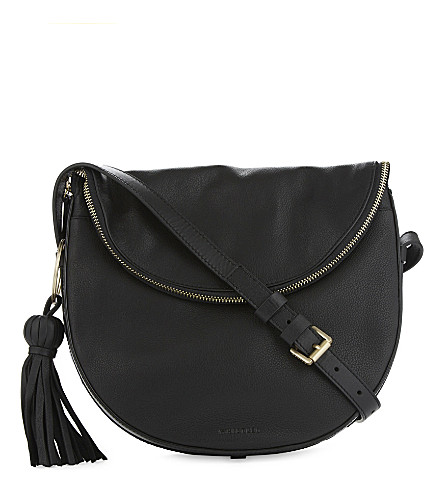 WHISTLES Clifton leather cross-body bag (Black