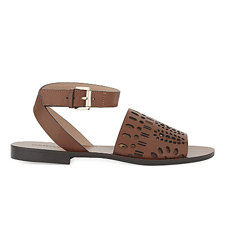 WHISTLES Lasercut leather flat sandals (Tan