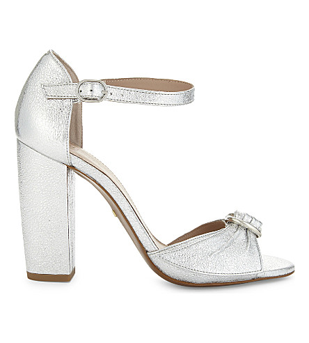 WHISTLES Thurza leather heeled sandals (Silver