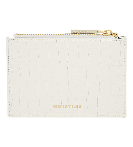 WHISTLES Crocodile-embossed leather coin purse (Cream