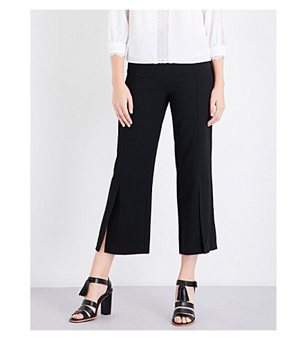 WHISTLES Split Front wide-leg stretch-crepe trousers (Black