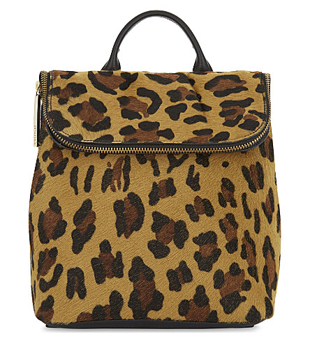 WHISTLES Mini verity leopard haircalf backpack (Multi-coloured