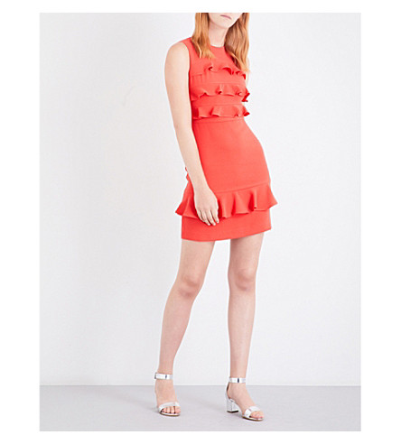 WHISTLES Bea frilled crepe dress (Coral