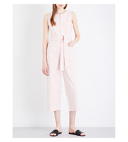 WHISTLES Alex self-tie cotton-drill jumpsuit (Pale+pink