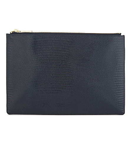 WHISTLES Lizard-embossed leather clutch (Navy
