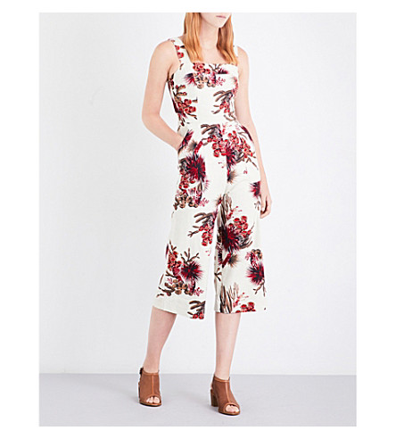 WHISTLES Cactus-print twill jumpsuit (Multi-coloured