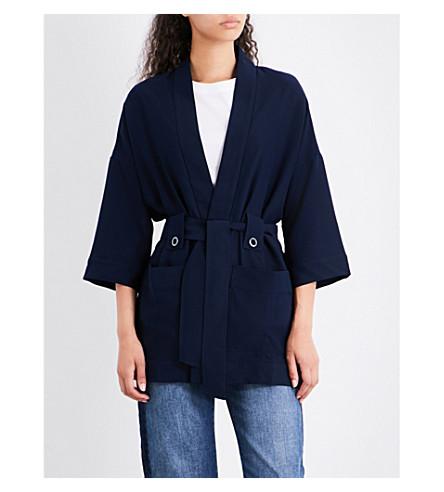 WHISTLES Kimono-sleeve crepe jacket (Navy