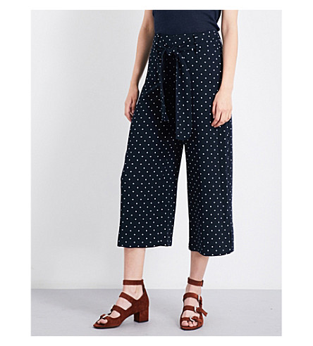 WHISTLES Spot wide-leg cropped crepe trousers (Multi-coloured