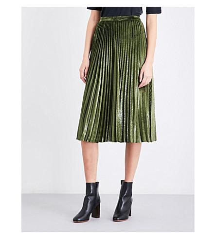 WHISTLES Kitty metallic velvet pleated skirt (Khaki/olive