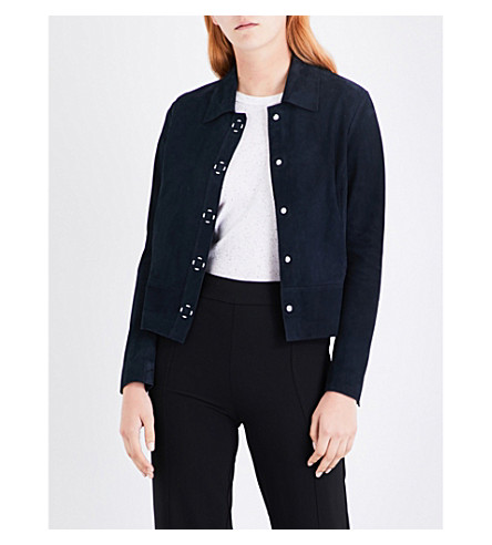WHISTLES Turner suede jacket (Navy