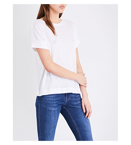 WHISTLES Boat neck linen T-shirt (White