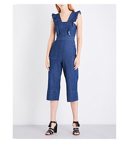 WHISTLES Sigrid Ruffle chambray jumpsuit (Blue